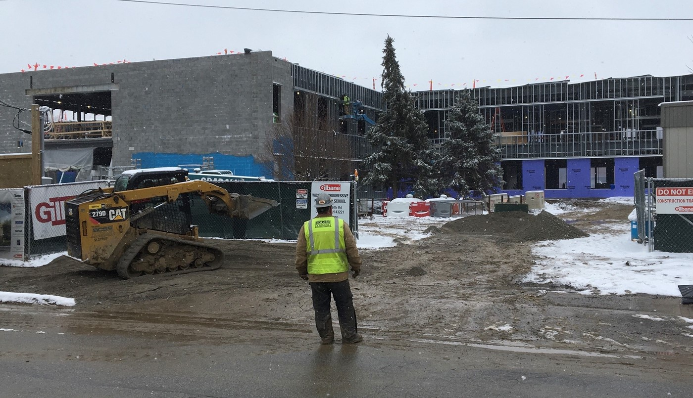 Wickliffe construction entrance on Feb. 7, 2020