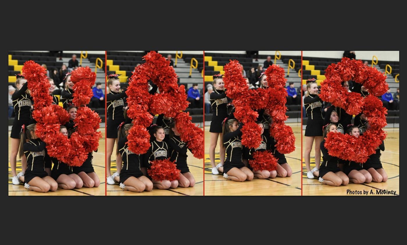 cheerleaders with uahs in flowers