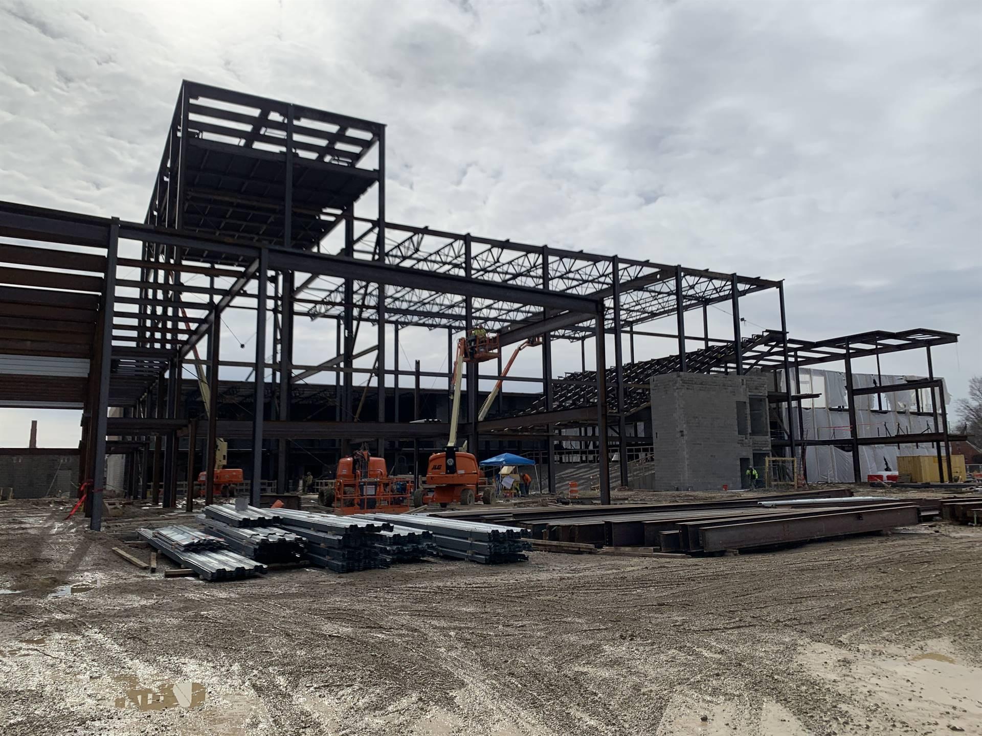 Steel framing around the new auditorium