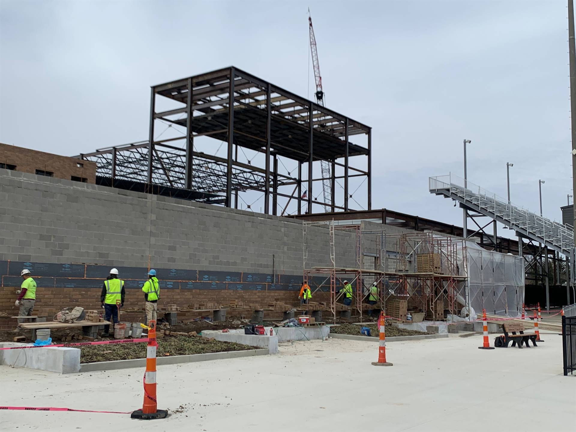 Brick work on the western exterior of the new Upper Arlington High School