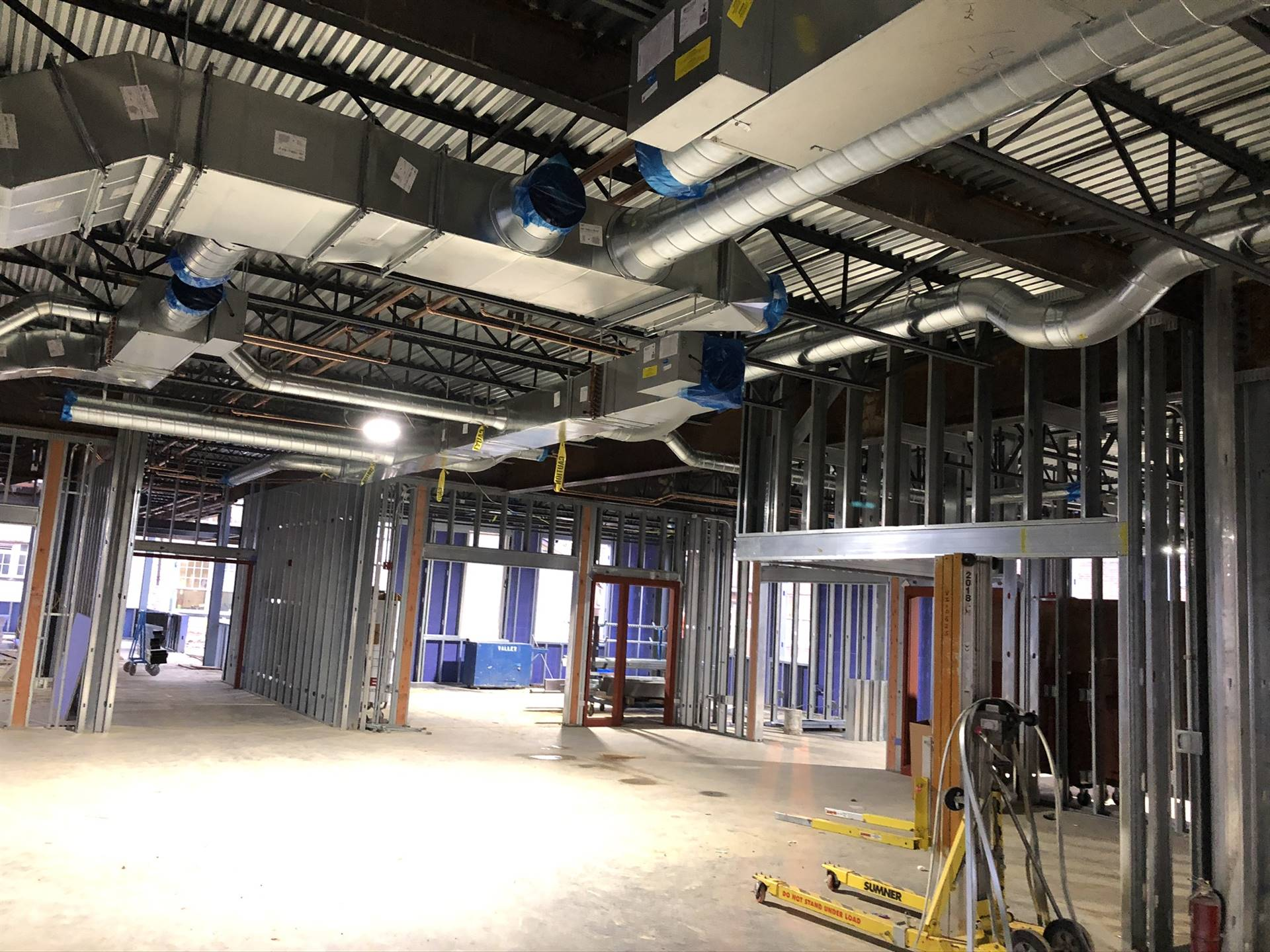 Interior framing on the addition to Barrington Elementary School