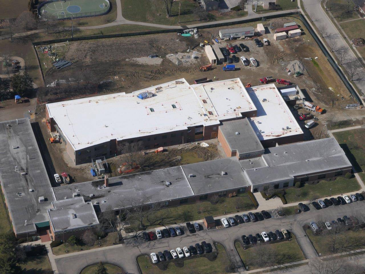 An aerial of the new Greensview Elementary School