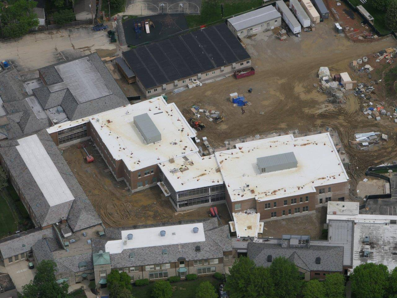 An aerial of the Barrington Elementary School addition