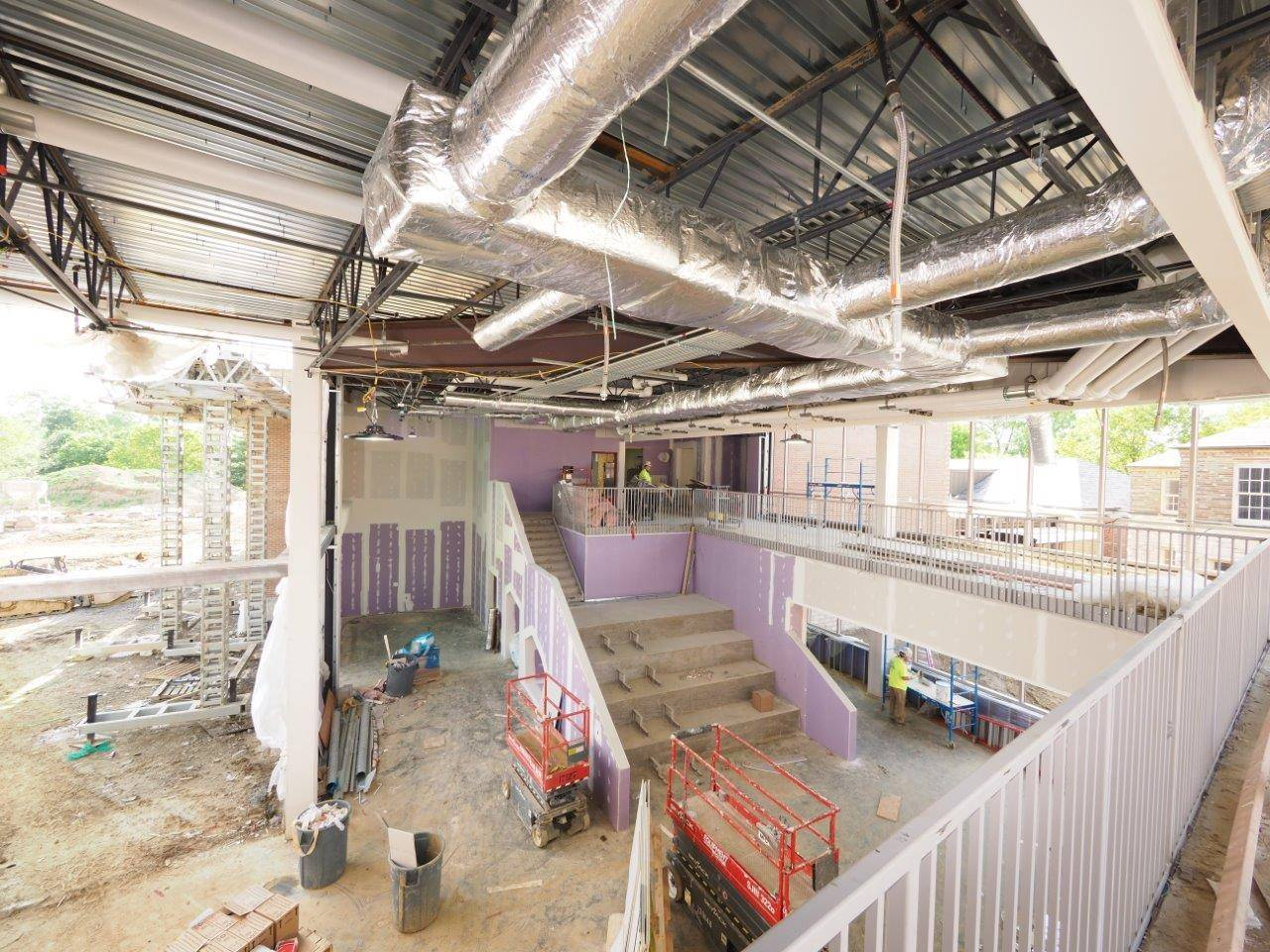 A view of the media center space inside the Barrington Elementary School addition project