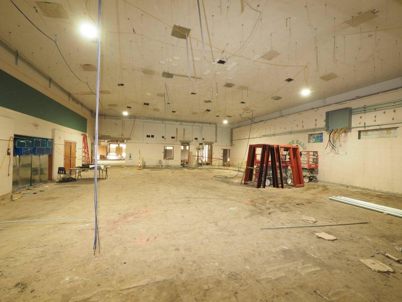 Renovation work inside Barrington Elementary School