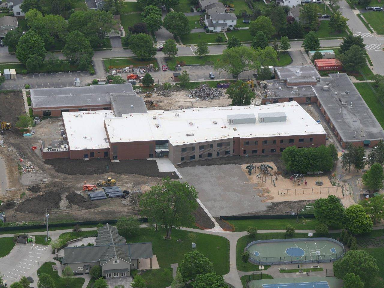 An aerial of the new Greensview Elementary School project