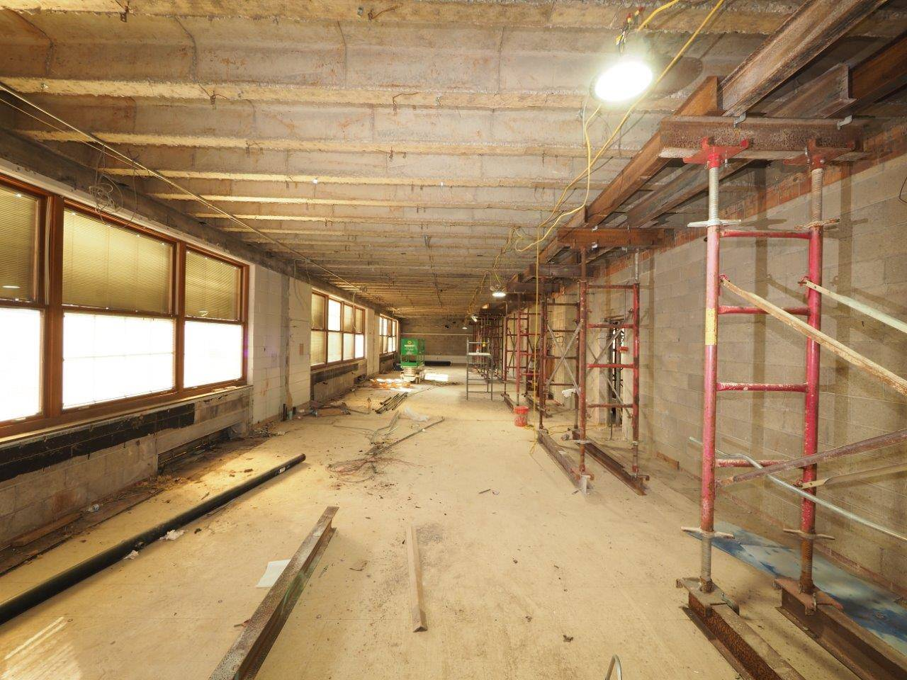 Ongoing interior renovations in older areas of the building