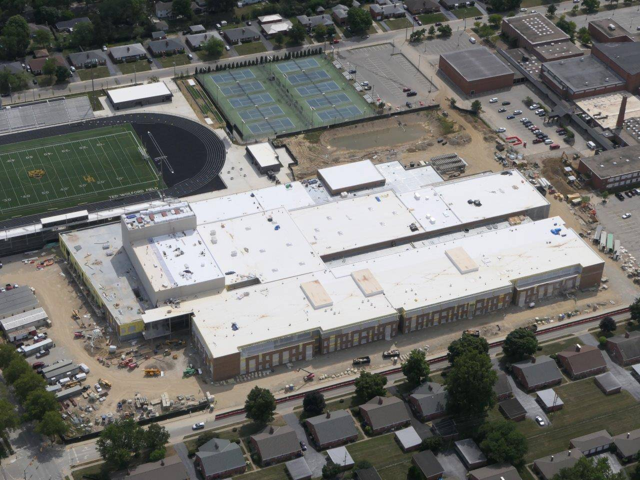 An aerial view of the new high school