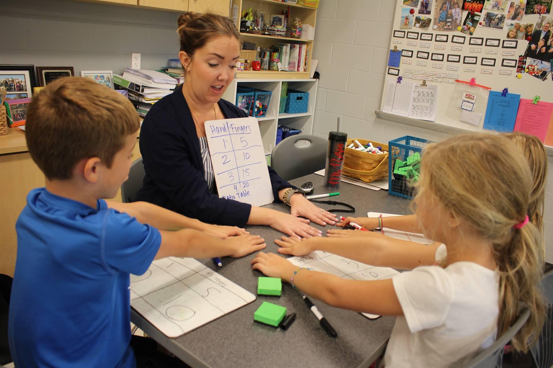 A teacher doing math instruction
