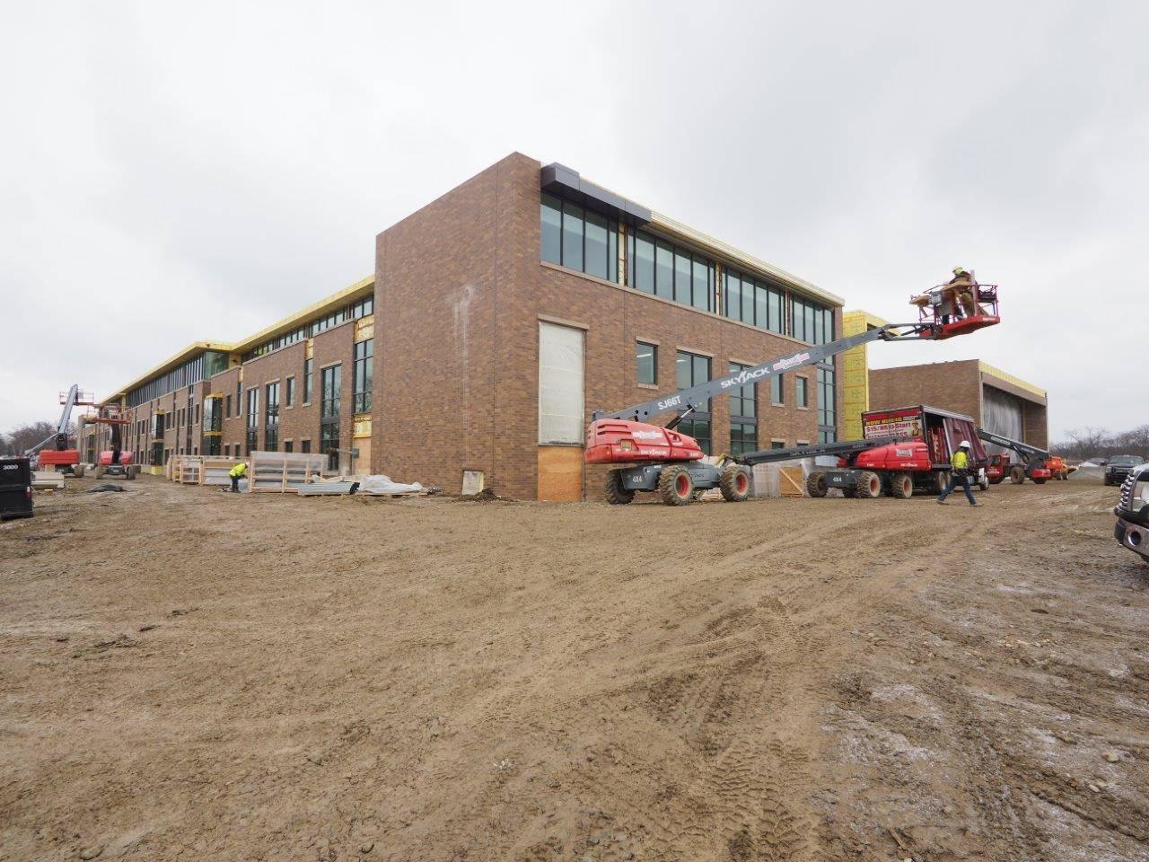 An exterior view of the new Upper Arlington High School