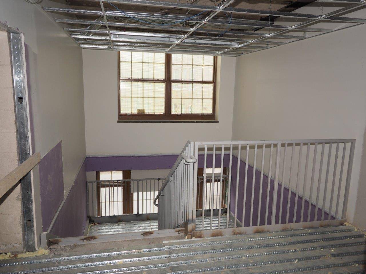 A new stairwell in the renovation area