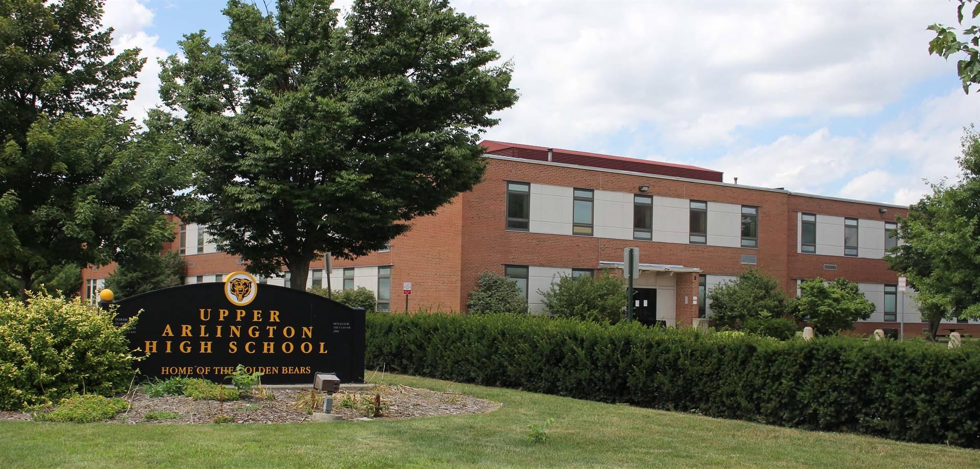 Exterior view of Upper Arlington High School along Ridgeview Road