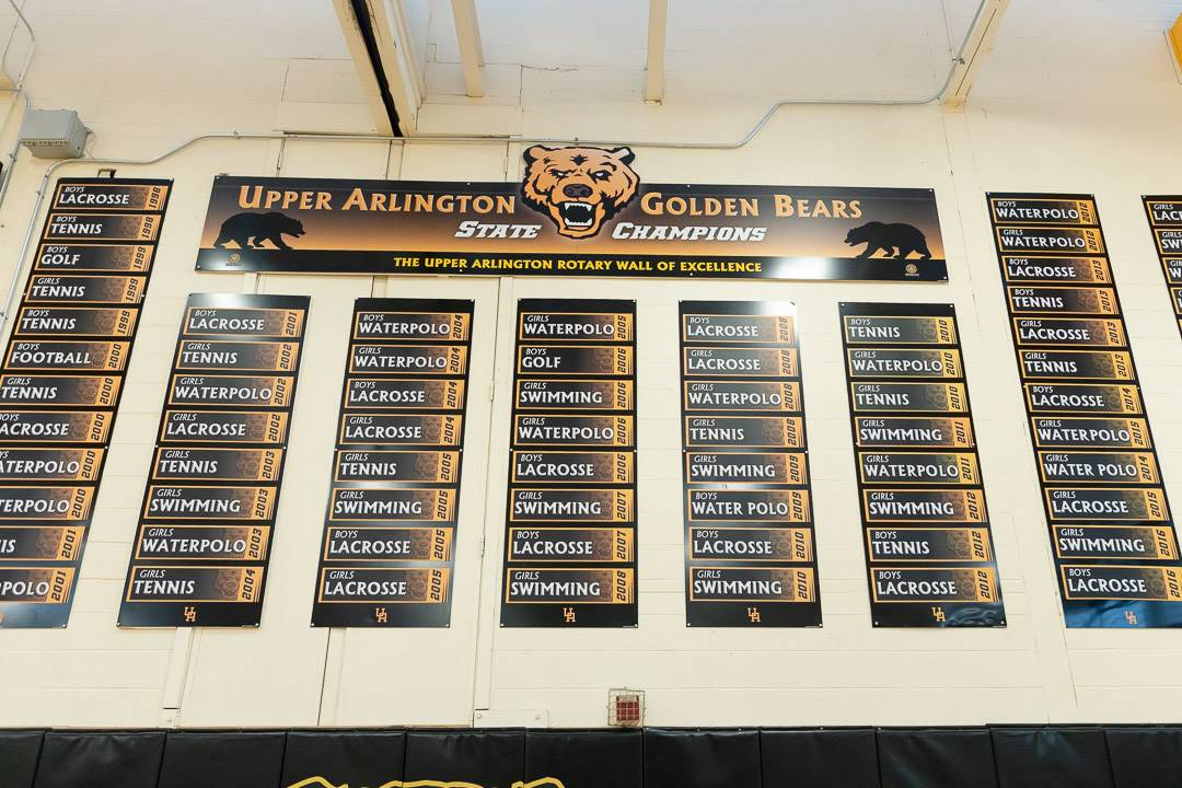 State championships display in the gymnasium