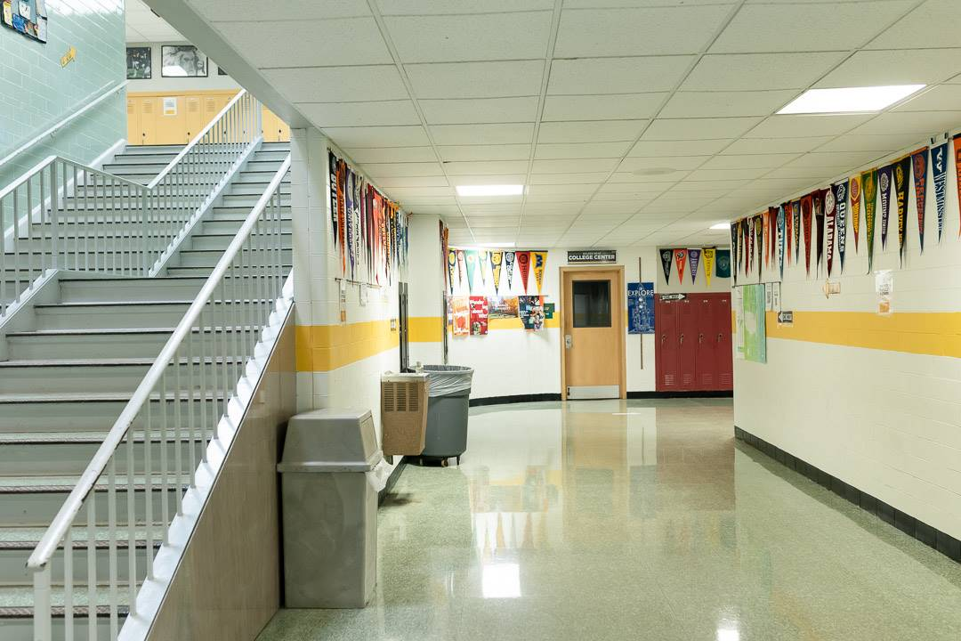 Hallway with college penants