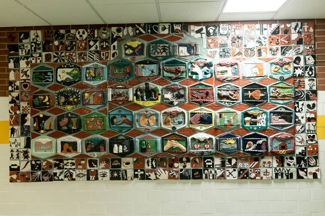 Student artwork outside the cafeteria