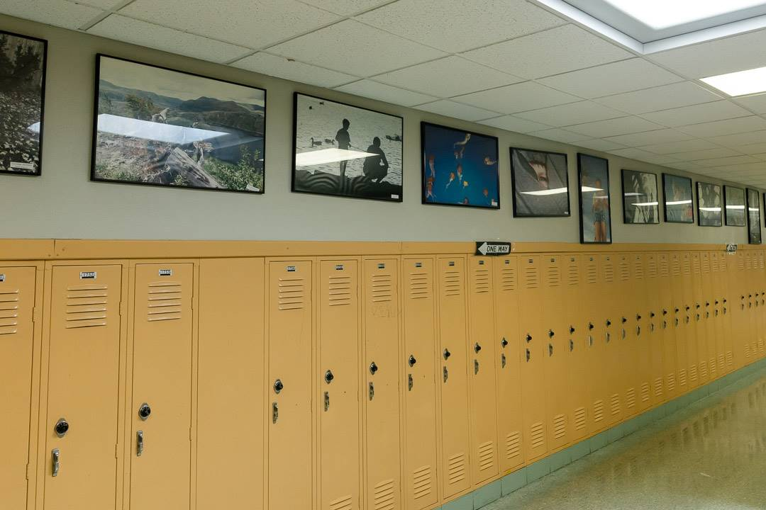 Hallway with student photography