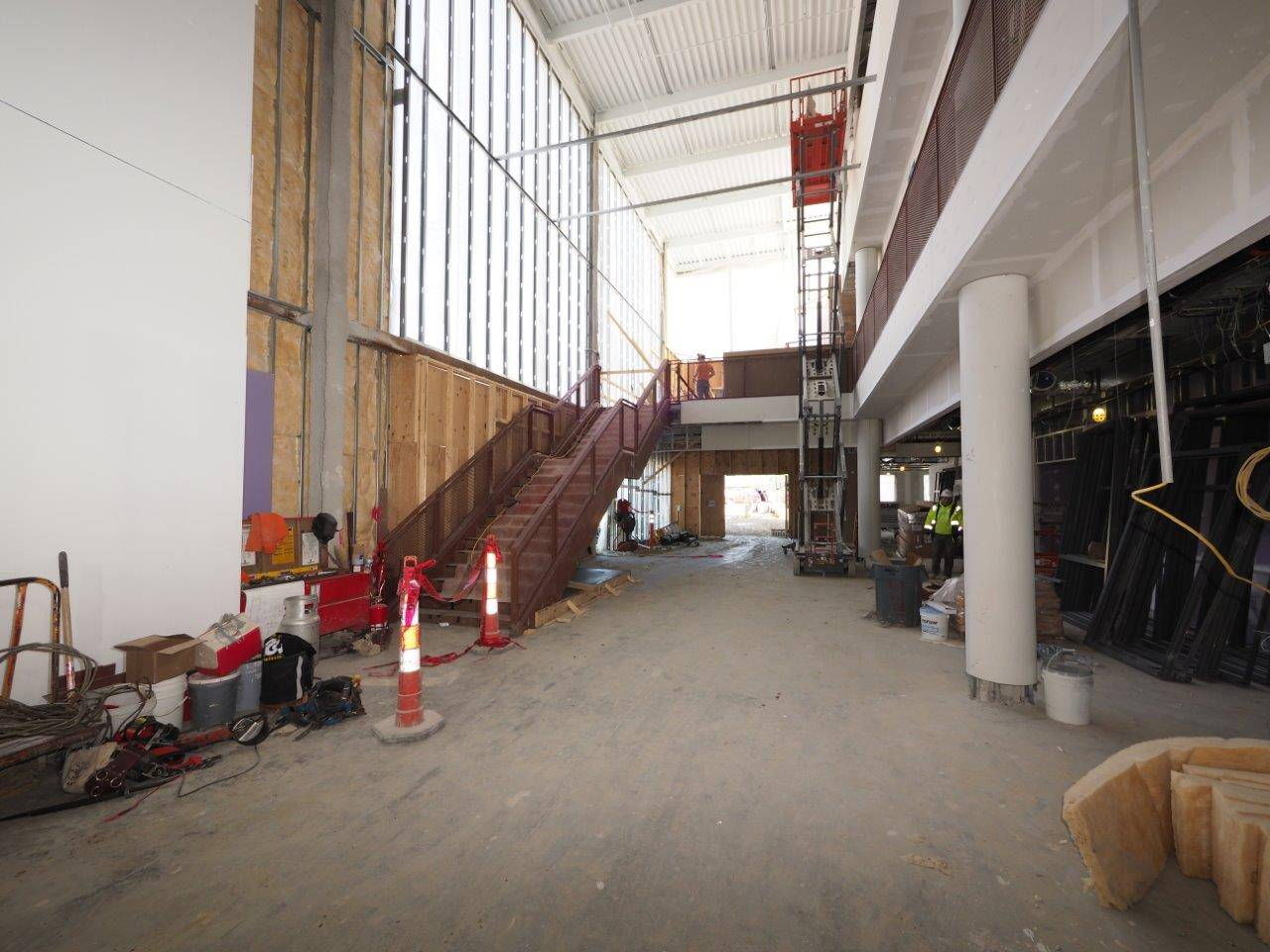 Looking at the main entrance to the new high school