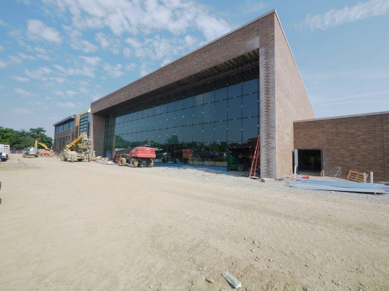 Looking at the glass windows to the natatorium